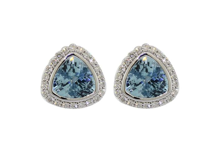 SLOANE STREET - Trillion Aquamarine Stud Earrings