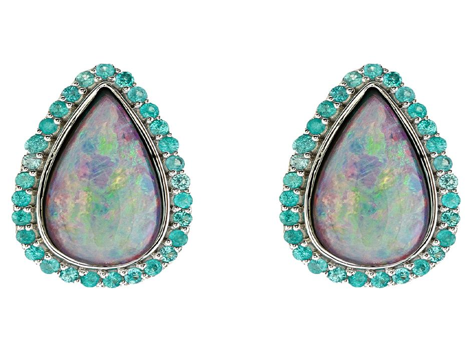 SLOANE STREET - Pear Shape Crystal Opal Stud Earrings