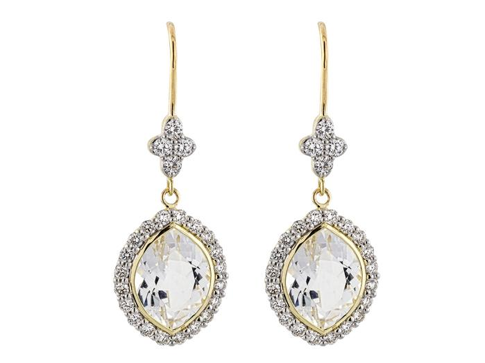 SLOANE STREET - Small Marquis White Topaz Earrings