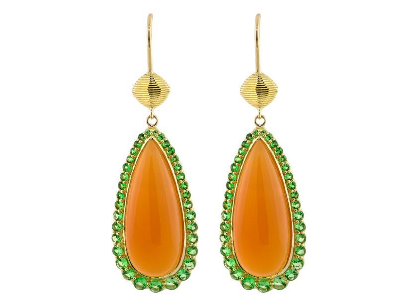 SLOANE STREET - Orange Chalcedony Pear Shape Earrings