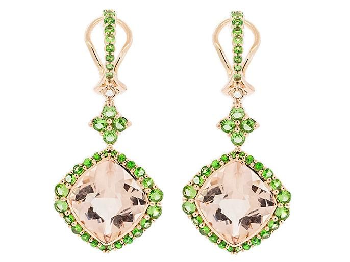 SLOANE STREET - Large Cushion Drop Morganite Earrings