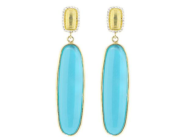 SLOANE STREET - Elongated Oval Turquoise Earrings