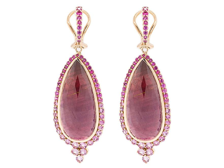 SLOANE STREET - Large Pear Shape Ruby Earrings