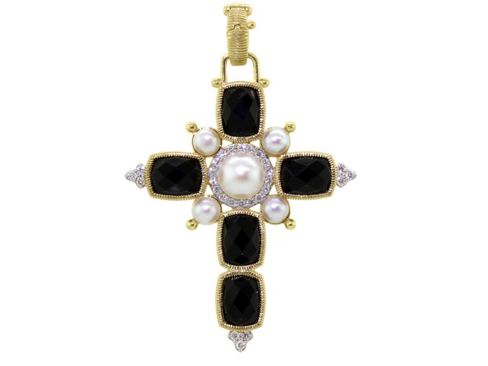 SLOANE STREET - White Pearl and Onyx Cross Pendant