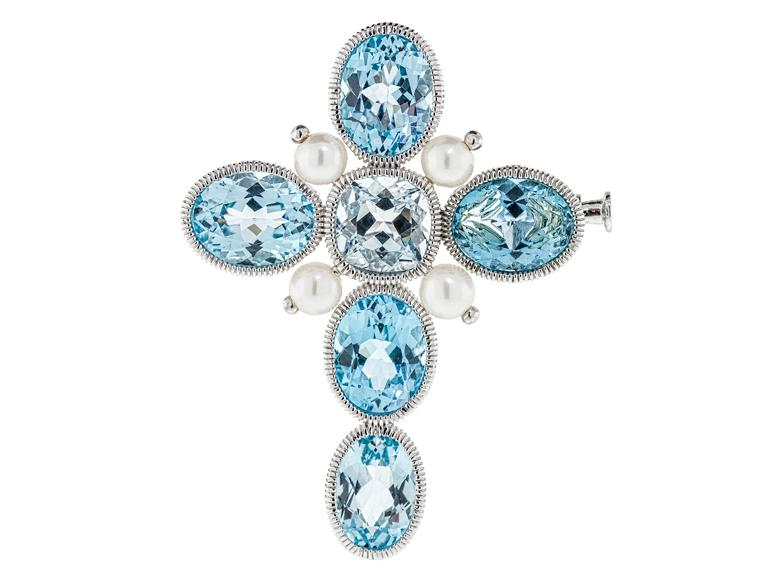 SLOANE STREET - Sky Blue Topaz Stone Cross Pendant