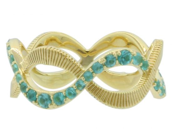 SLOANE STREET - Braided Paraiba and Strie Eternity Band