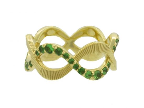 SLOANE STREET - Braided Tsavorite and Strie Eternity Band