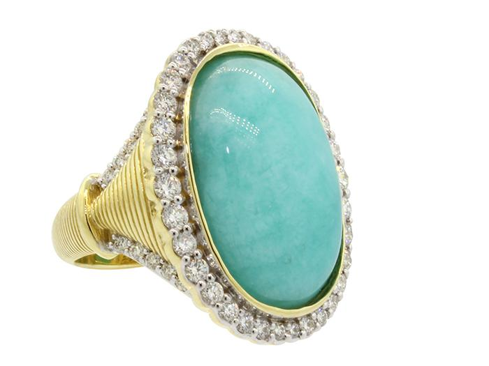 SLOANE STREET - Amazonite Elongated Oval Ring