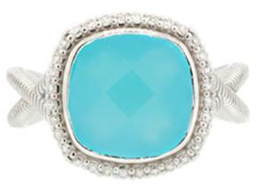 SLOANE STREET - Aqua Chalcedony Cushion Stone Ring