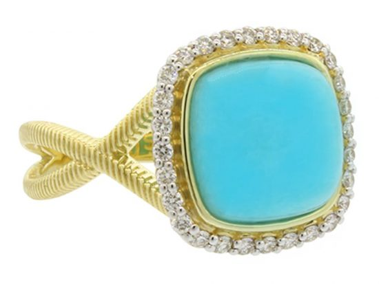 SLOANE STREET - Cushion Aqua Chalcedony Ring