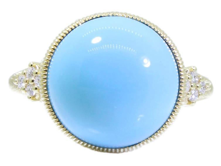 SLOANE STREET - Round Turquoise Cab Stone Ring