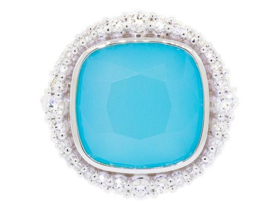 SLOANE STREET - Aqua Chalcedony Cushion Ring