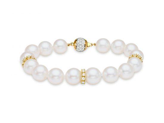 MASTOLONI - 18K Yellow Gold 10-10.5MM White Round South Sea Pearl Bracelet 1.50 TCW 8 Inches