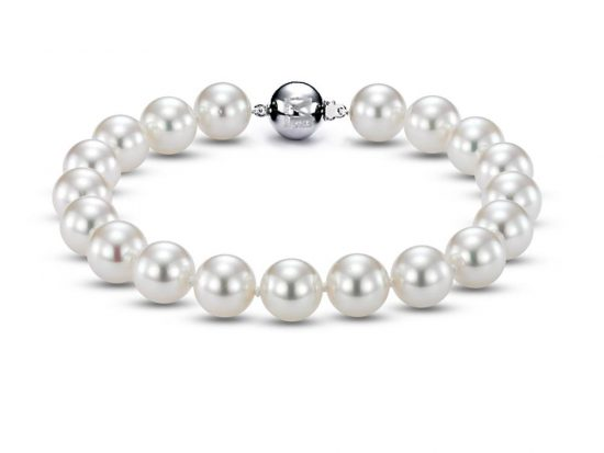 MASTOLONI - 18K Yellow Gold 8.5-9.5MM White Round South Sea Pearl Bracelet 7 Inches