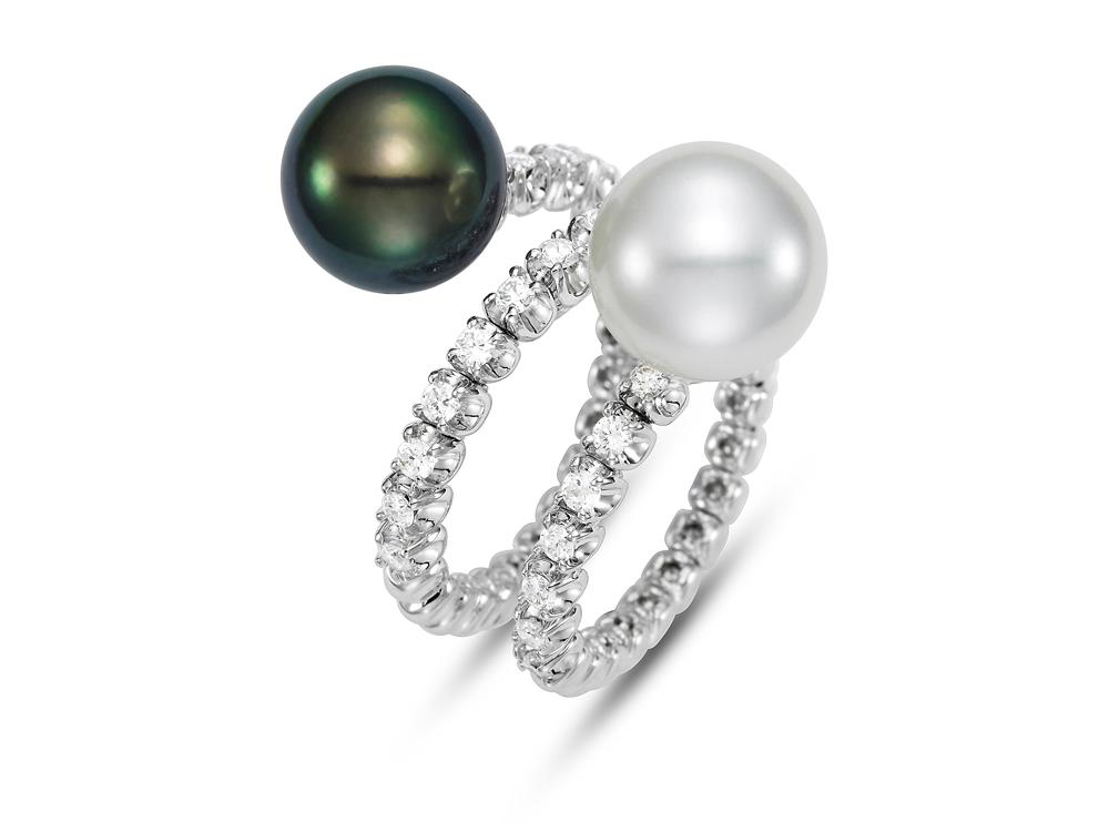 MASTOLONI - 18K White Gold 10.5MM Multicolor Black & White Round South Sea and Tahitian Pearl Ring with 27 Diamonds 0.59 TCW