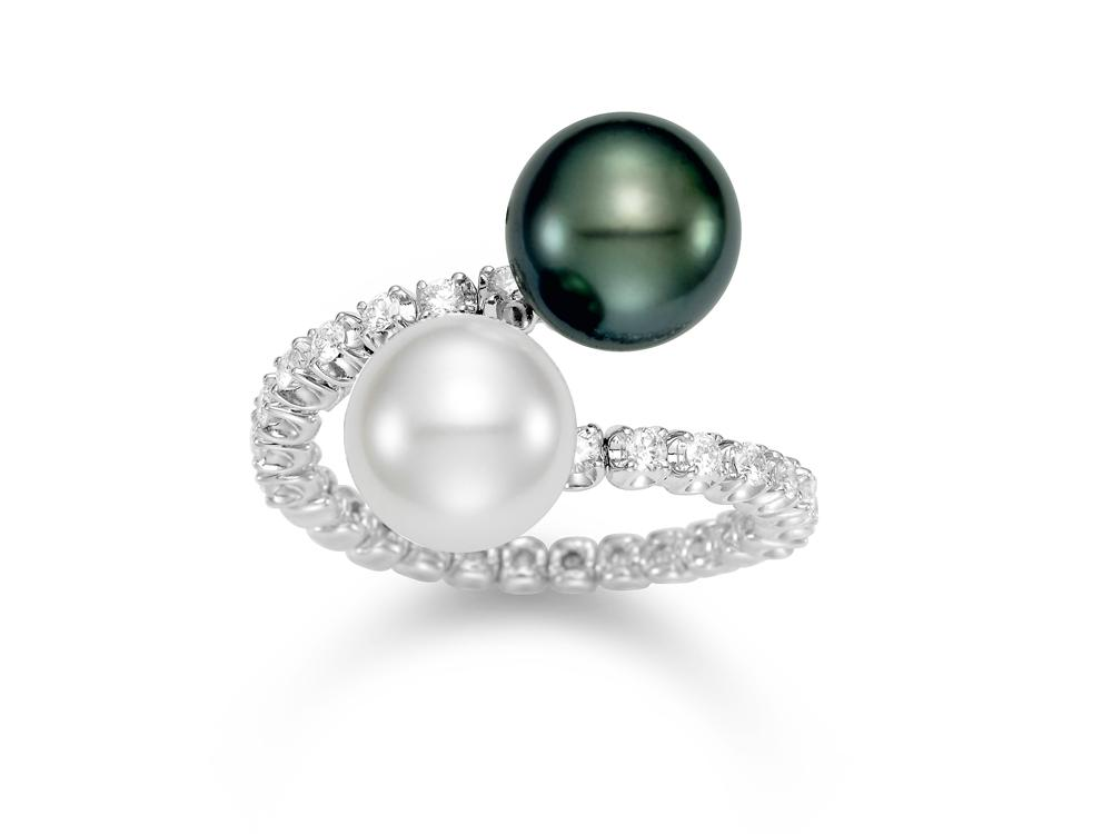 MASTOLONI - 18K White Gold 10MM Multicolor Black & White Round South Sea and Tahitian Pearl Ring with 14 Diamonds 0.41 TCW