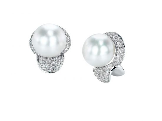 MASTOLONI - 18K White Gold 12.5MM White Button Shaped South Sea Pearl Clip/Lever Back Earring 1.25 TCW