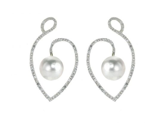 MASTOLONI - 18K White Gold 11.5MM White Oval Shaped South Sea Pearl Earring with 178 Diamonds 1.07 TCW