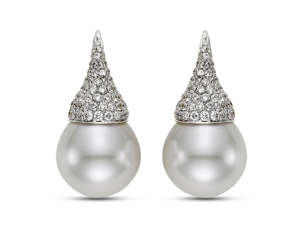MASTOLONI - 18K White Gold 15.7-15.8MM White Drop Shaped South Sea Pearl Clip/Lever Back Earring with 142 Diamonds 2.00 TCW 1.2 Inches