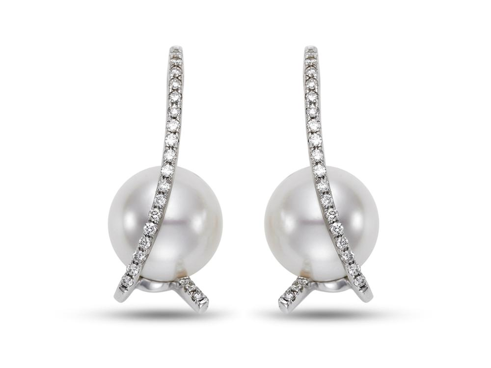 MASTOLONI - 18K White Gold 10.5MM White Round South Sea Pearl Earring with 44 Diamonds 0.36 TCW