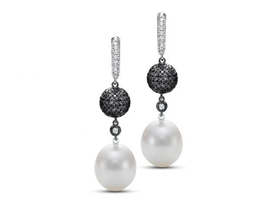 MASTOLONI - 18K White Gold 12.5-13MM White Oval South Sea Pearl Clip/Lever Back Earring 2.75 TCW