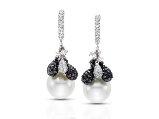 MASTOLONI - 18K White Gold 12.5-13MM White Oval South Sea Pearl Clip/Lever Back Earring 5.31 TCW