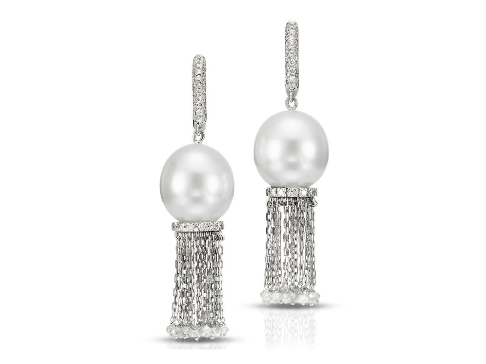 MASTOLONI - 18K White Gold 13.2MM White Round South Sea Pearl Clip/Lever Back Earring 3.33 TCW