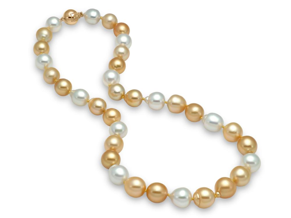 MASTOLONI - 18K Yellow Gold 10-12.4MM Multicolor White & Golden Semi-Baroque South Sea Pearl Strand 17 Inches