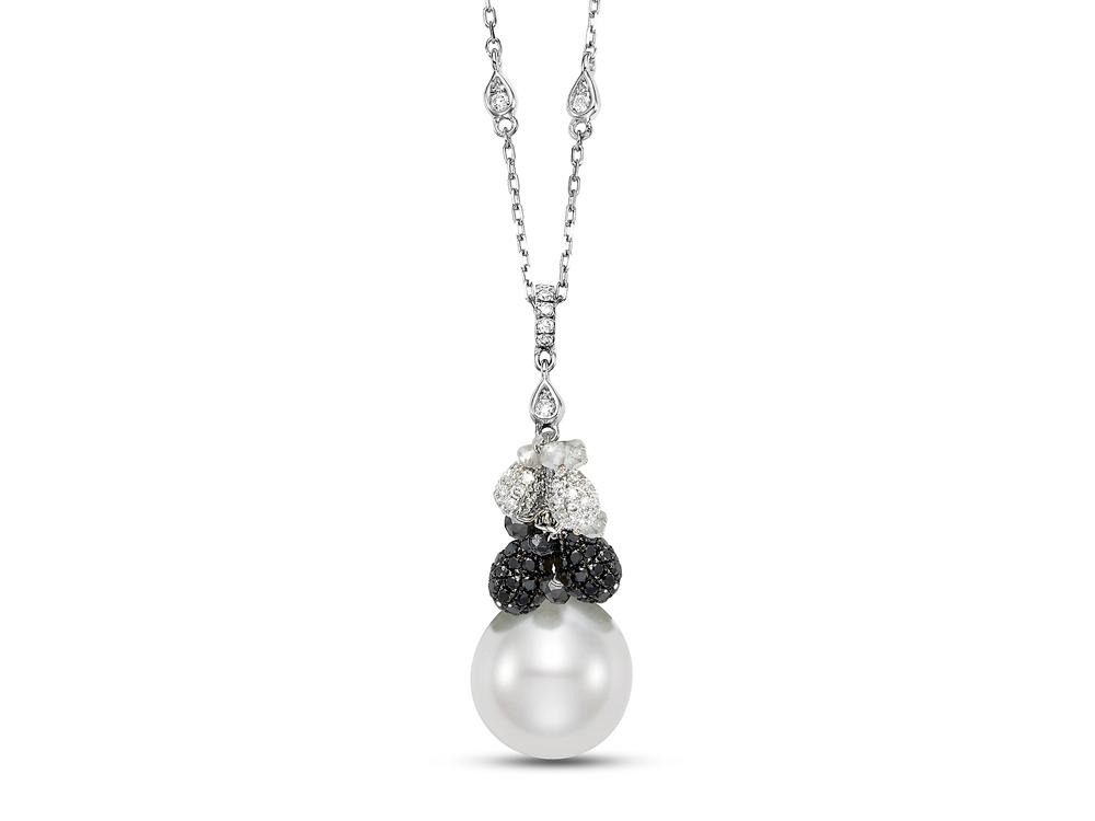 MASTOLONI - 18K White Gold 12.2-13MM White Drop Shaped South Sea Pearl Necklace 2.75 TCW 18 Inches