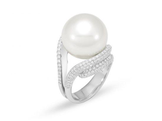 MASTOLONI - 18K White Gold 15.8MM White Round South Sea Pearl Ring with 342 Diamonds 1.73 TCW