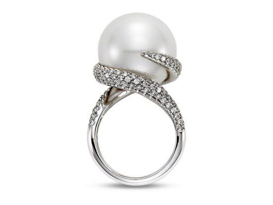 MASTOLONI - 18K White Gold 17.8MM White Round South Sea Pearl Ring 1.90 TCW