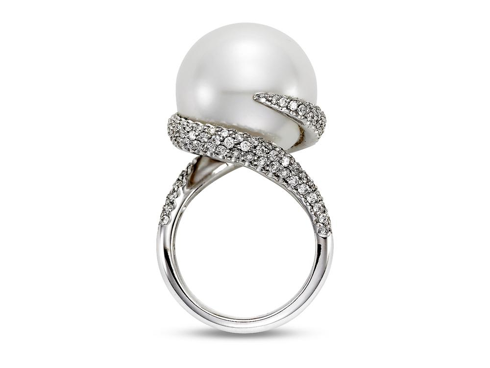 MASTOLONI - 18K White Gold 17.8MM White Round South Sea Pearl Ring 1.90 TCW