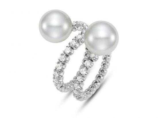 MASTOLONI - 18K White Gold 10.5MM White Round South Sea Pearl Ring with 27 Diamonds 0.59 TCW