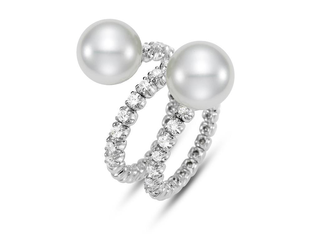 MASTOLONI - 18K White Gold 10.5MM White Round South Sea Pearl Ring with 27 Diamonds 0.59 TCW