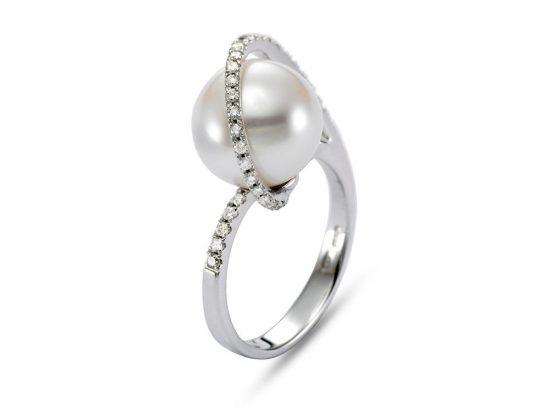 MASTOLONI - 18K White Gold 11MM White Round South Sea Pearl Ring with 31 Diamond 0.30 TCW