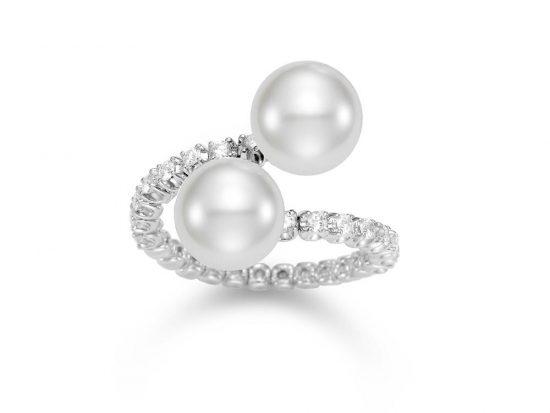 MASTOLONI - 18K White Gold 10MM White Round South Sea Pearl Ring with 14 Diamonds 0.41 TCW