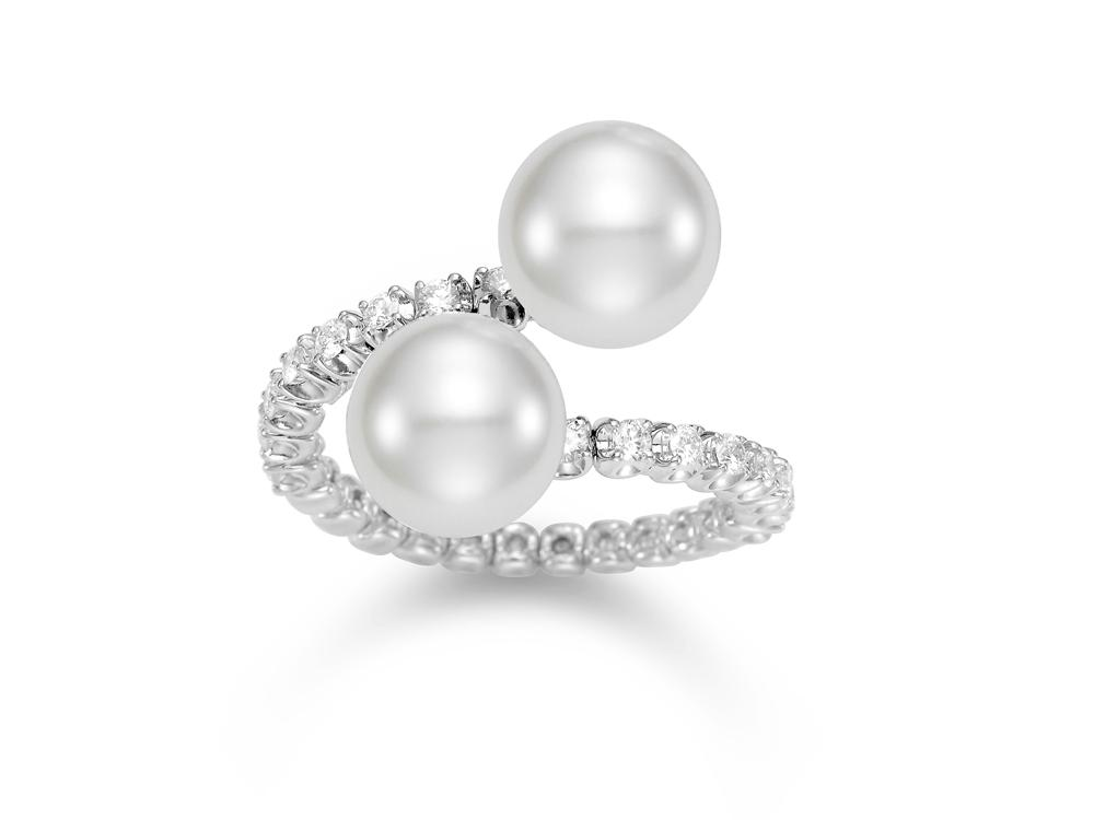 MASTOLONI - 18K White Gold 10MM White Round South Sea Pearl Ring with 14 Diamonds 0.41 TCW
