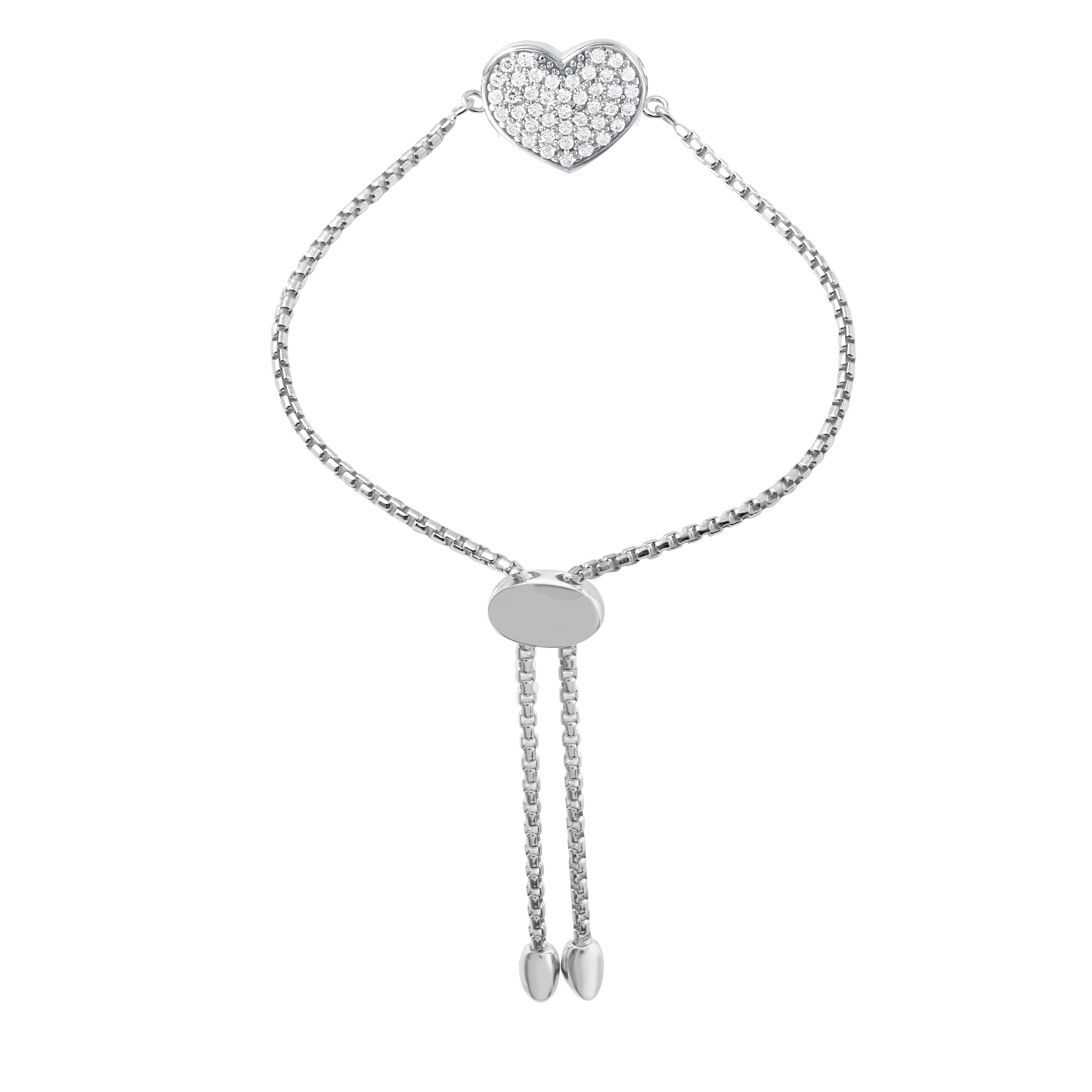 CHARLES GARNIER - Sterling Silver and CZ Heart Bracelet