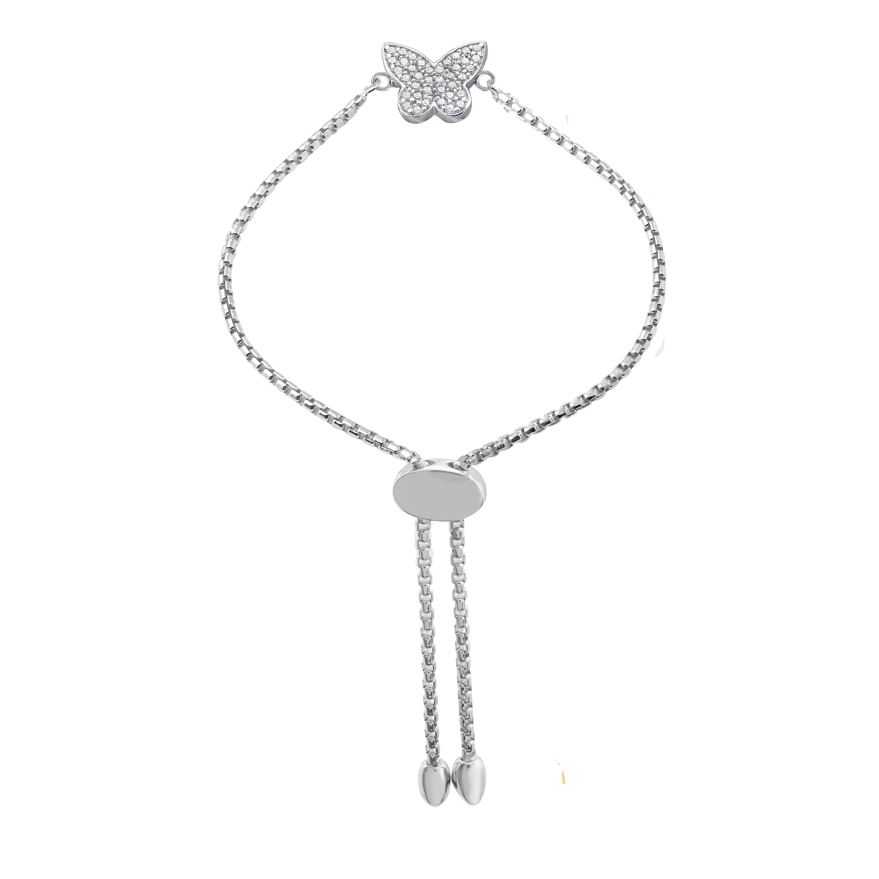 CHARLES GARNIER - Sterling Silver and CZ Butterfly Bracelet