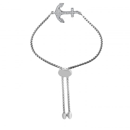 CHARLES GARNIER - Sterling Silver and CZ Anchor Bracelet