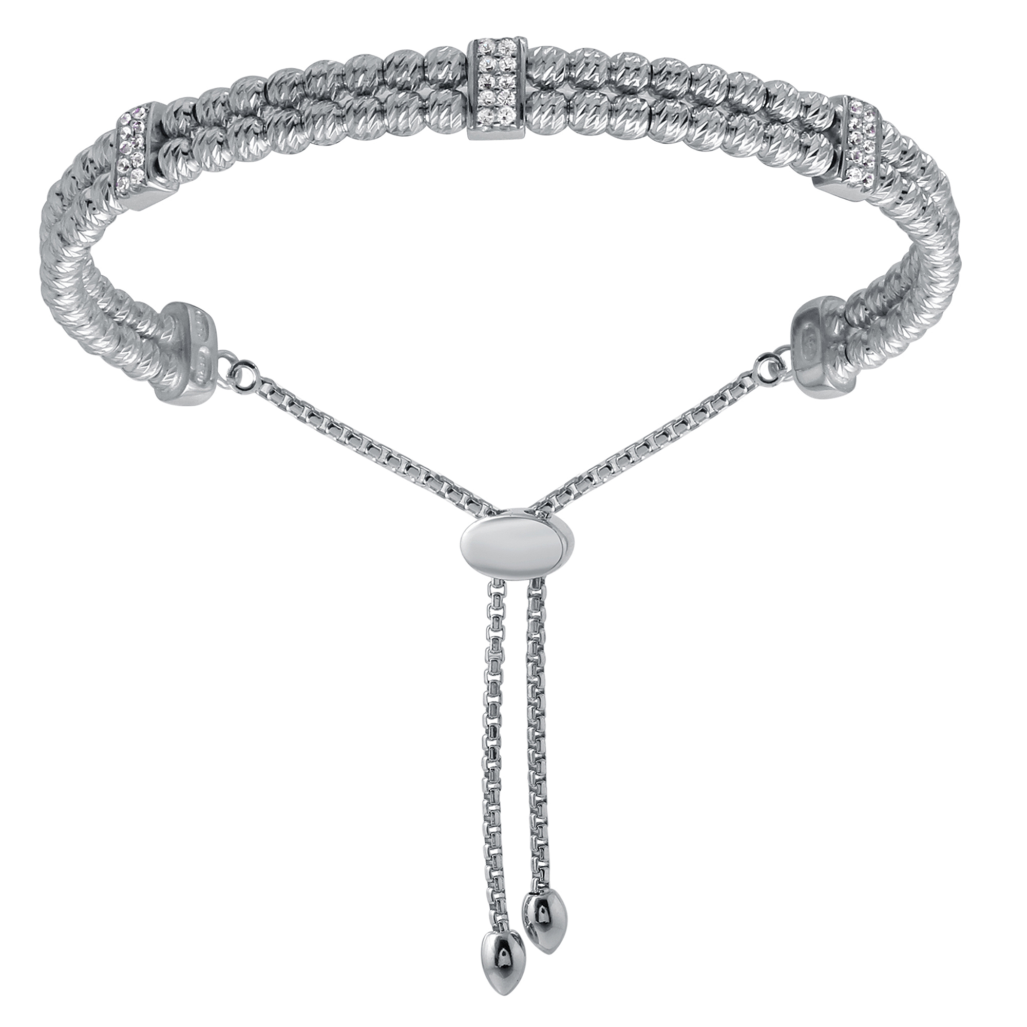 CHARLES GARNIER - Sterling Silver and CZ Bar Bracelet
