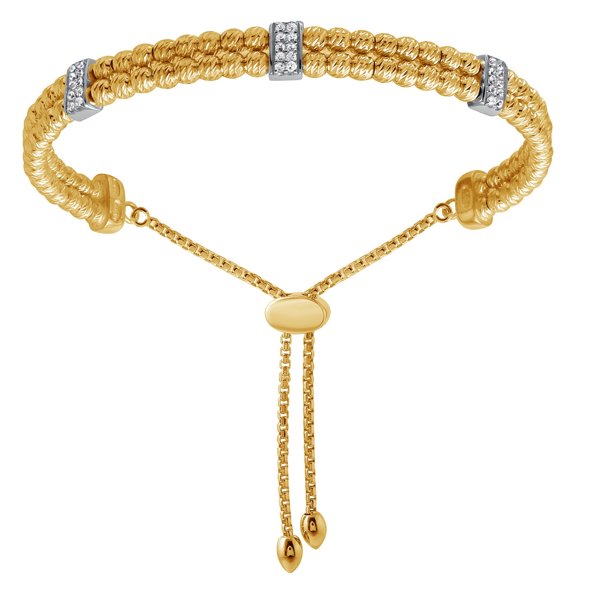CHARLES GARNIER - Sterling Silver and CZ Bar Bracelet