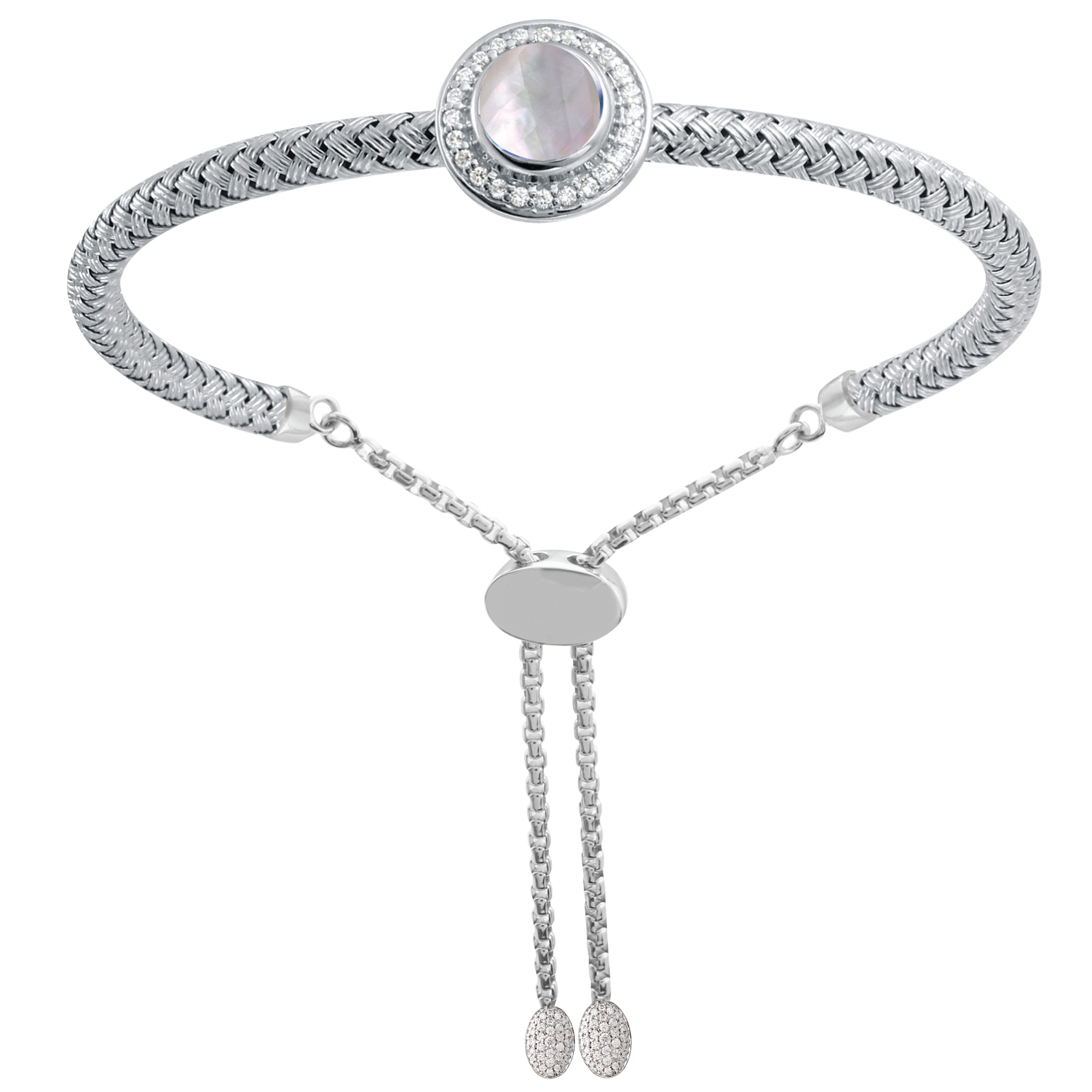 CHARLES GARNIER - Sterling Silver, Mother of Pearl and CZ Bracelet