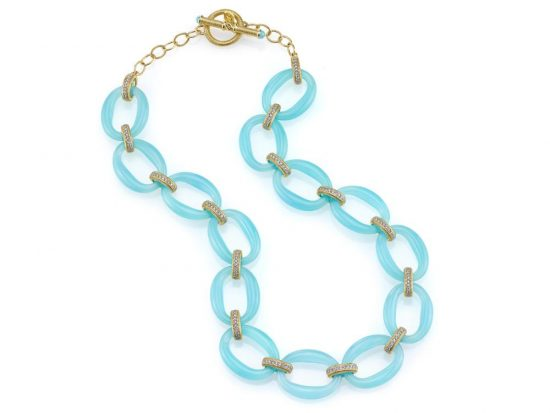 SLOANE STREET - Aqua Chalcedony Oval Link Necklace