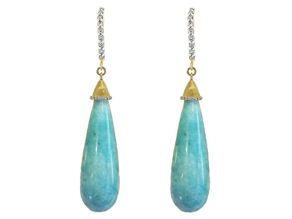 SLOANE STREET - Amazonite Briolette Drop Earrings