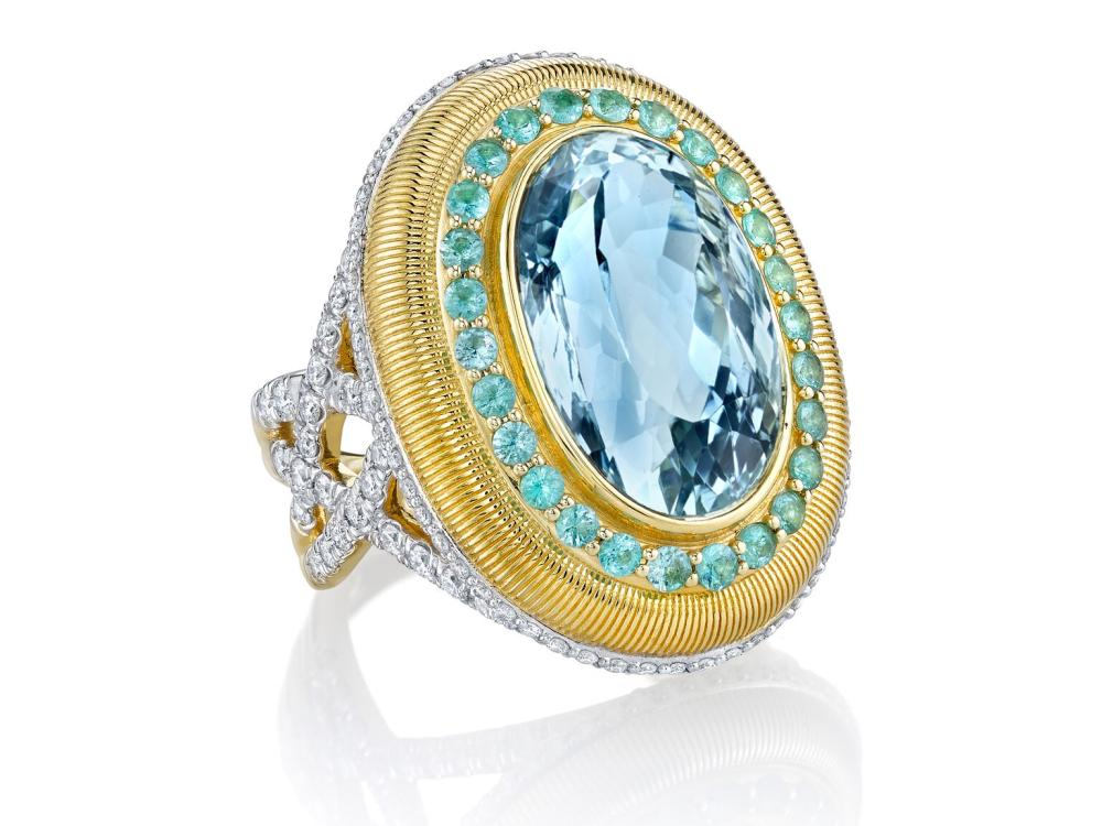SLOANE STREET - Oval Aquamarine Bezel set Ring