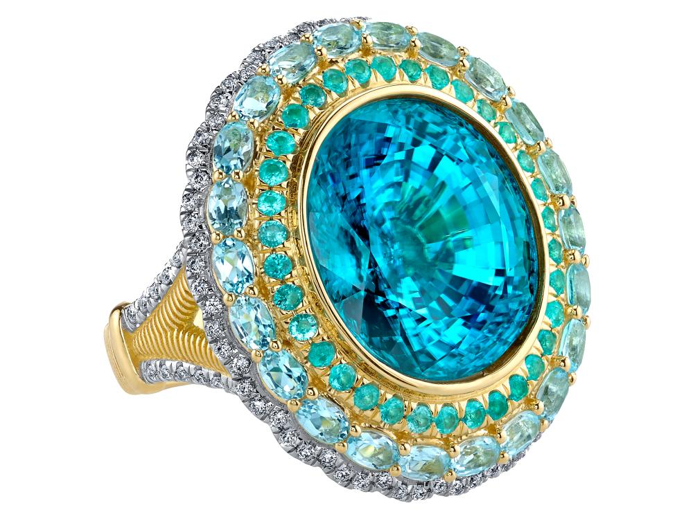 SLOANE STREET - Oval Blue Zircon Ring